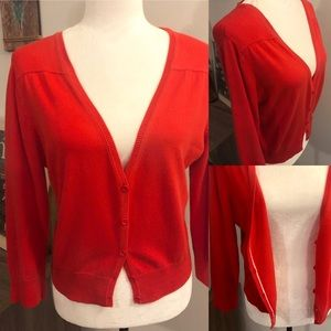 🆕 Liz Claiborne Red/Orange Button Front Cardigan